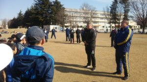 小野選手、榎選手練習開始時のあいさつ